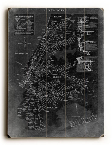 New York Map Wood Sign 14x20 (36cm x 51cm) Planked