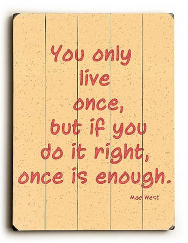 Only Live Once Wood Sign 12x16 Planked