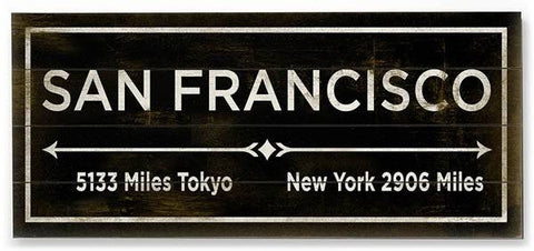 San Francisco Wood Sign 10x24 (26cm x61cm) Planked
