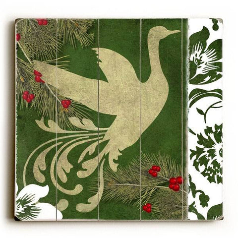 Christmas Goose Wood Sign 13x13 Planked