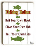 Fishing Rules Wood Sign 13x13 Planked