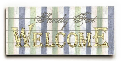 Sandy Feet Welcome Wood Sign 10x24 (26cm x61cm) Planked