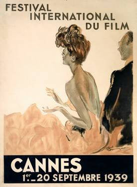 1939 Cannes Film Festival Wood Sign 9x12 (23cm x 31cm) Solid