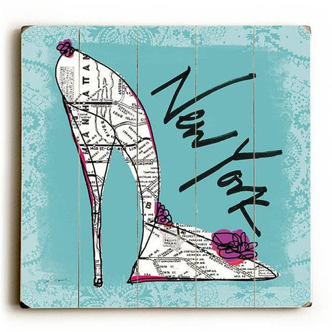 New York Heels Wood Sign 13x13 Planked