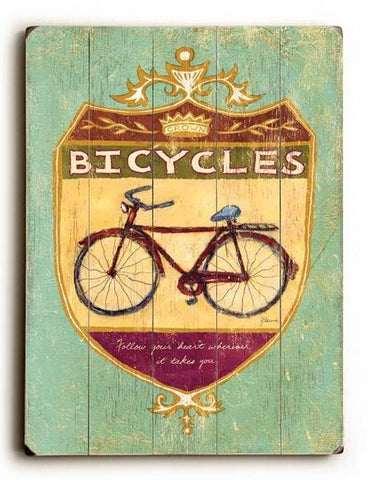0002-8216-Bicycles Wood Sign 14x20 (36cm x 51cm) Planked