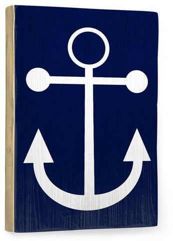 Navy Anchor Wood Sign 14x20 (36cm x 51cm) Planked