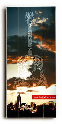 Guitar NYC Wood Sign 14x23 (36cm x59cm) Planked