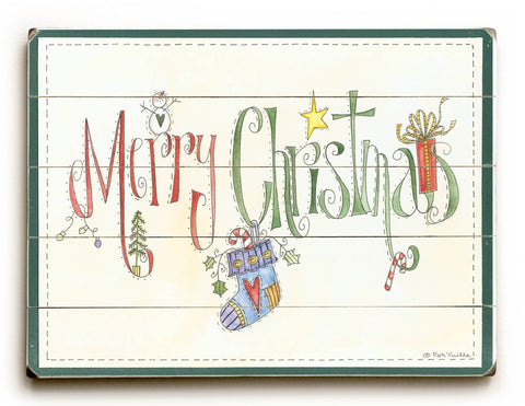 Merry Christmas Wood Sign 13x13 Planked