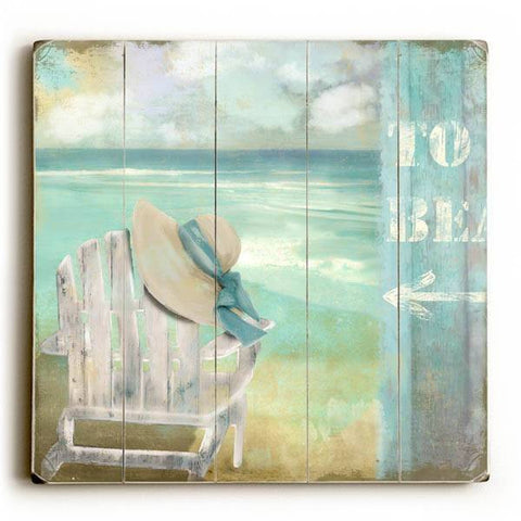 To Beach - Chair Wood Sign 13x13 Planked