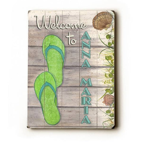 Flip Flop Welcome Wood Sign 14x20 (36cm x 51cm) Planked