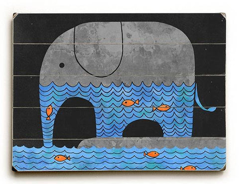 Thirsty Elephant Wood Sign 9x12 (23cm x 31cm) Solid