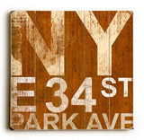 NY PARK AVE Wood Sign 30x30 (77cm x 77cm) Planked