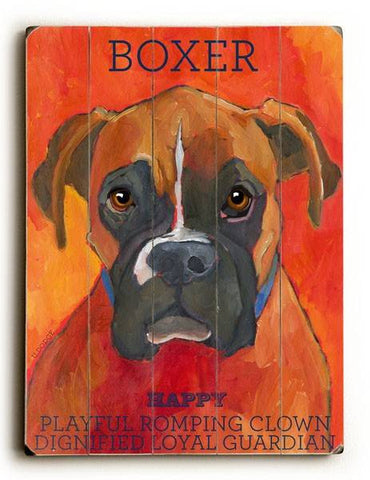 Boxer Wood Sign 14x20 (36cm x 51cm) Planked