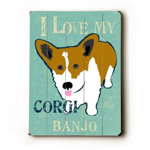 Personalized I love my corgi Wood Sign 12x16 Planked
