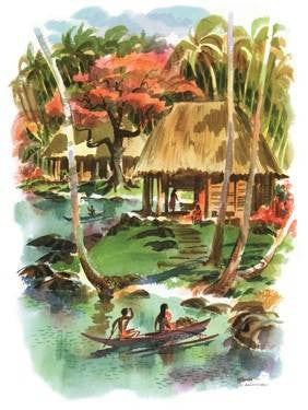 Samoa by Louis Macouillard Wood Sign 14x20 (36cm x 51cm) Planked