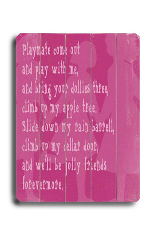 Playmate 2 Wood Sign 12x16 Planked