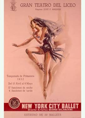 1956 New York City Ballet Poster Wood Sign 9x12 (23cm x 31cm) Solid