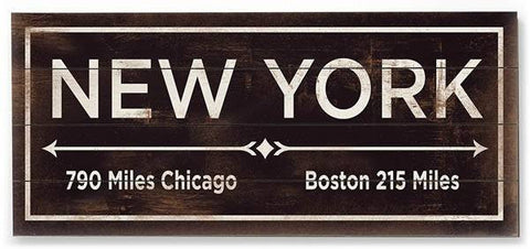 New York Wood Sign 10x24 (26cm x61cm) Planked