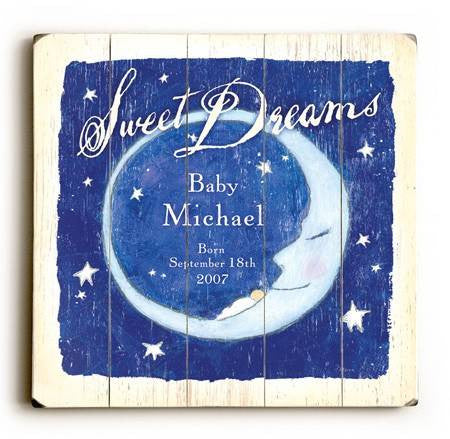 0002-9013-Sweet Dreams Moon Wood Sign 18x18 (46cm x46cm) Planked