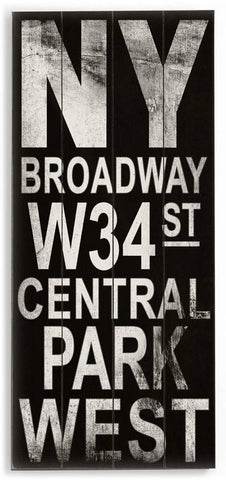 NY Broadway Wood Sign 10x24 (26cm x61cm) Planked
