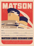 Matson Lines Oceanic Line Wood Sign 14x20 (36cm x 51cm) Planked