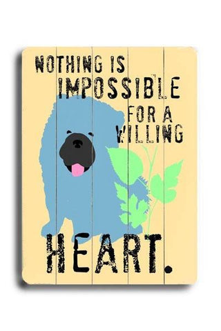 For a willing heart Wood Sign 12x16 Planked