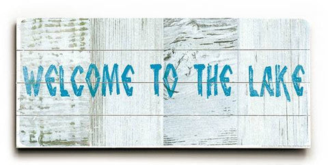 Welcome to the Lake Wood Sign 10x24 (26cm x61cm) Planked