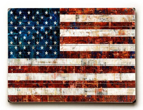 American Flag Collage Wood Sign 14x20 (36cm x 51cm) Planked