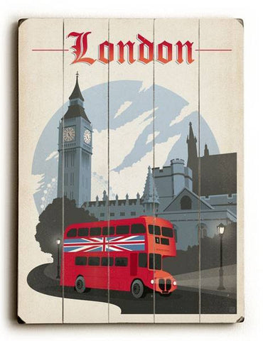 London Wood Sign 14x20 (36cm x 51cm) Planked