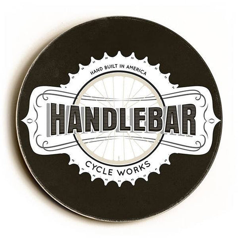 Handlebar Cycle Works Wood Sign 12x12 (30cm x 30cm) Round