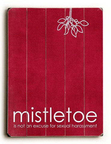 Mistletoe - Red Wood Sign 9x12 (23cm x 31cm) Solid