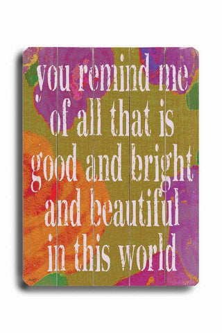 You Remind Me Wood Sign 14x20 (36cm x 51cm) Planked