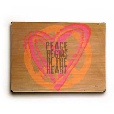 Peace Begins Wood Sign 14x20 (36cm x 51cm) Planked