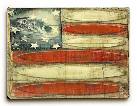 American Flag -Surfboards Wood Sign 14x20 (36cm x 51cm) Planked