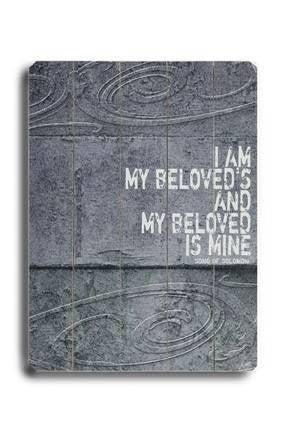 I am my Beloved's Wood Sign 12x16 Planked