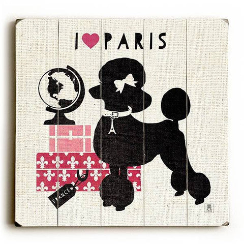 Paris Pooch Wood Sign 13x13 Planked