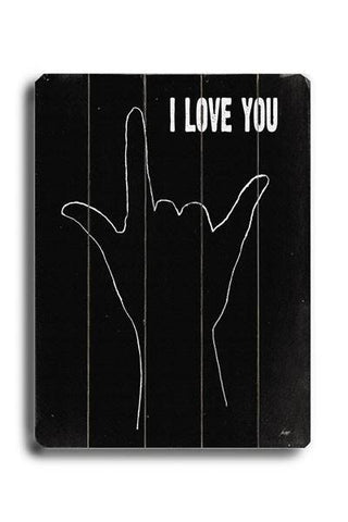 I love you (hand sign) Wood Sign 12x16 Planked