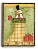 Merry Merry Merry Snowman Wood Sign 13x13 Planked