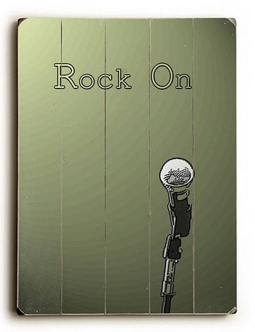 Rock On Wood Sign 9x12 (23cm x 31cm) Solid