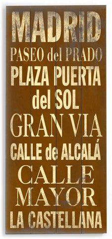 Madrid Wood Sign 10x24 (26cm x61cm) Planked