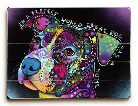 In a Perfect World Wood Sign 12x16 Planked