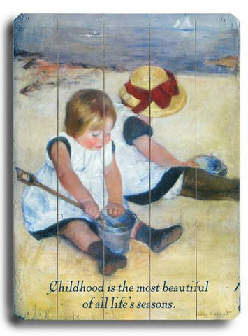 Children at Play Wood Sign 14x20 (36cm x 51cm) Planked