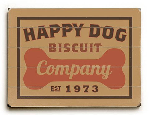 Happy Dog Biscuit Wood Sign 12x16 Planked