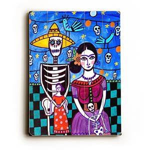 skeleton fiesta couple Wood Sign 25x34 (64cm x 87cm) Planked