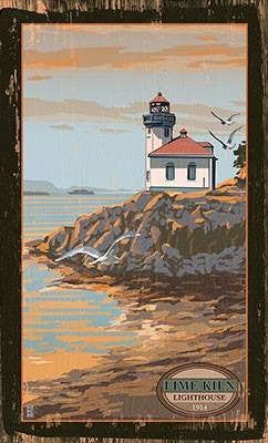 Lime Kiln Lighthouse Wood Sign 7.5x12 (20cm x31cm) Solid