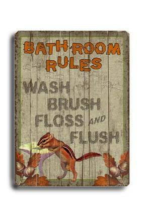 Bathroom Rules Wood Sign 14x20 (36cm x 51cm) Planked