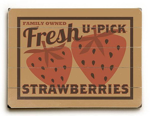 Fresh Strawberries Wood Sign 25x34 (64cm x 87cm) Planked