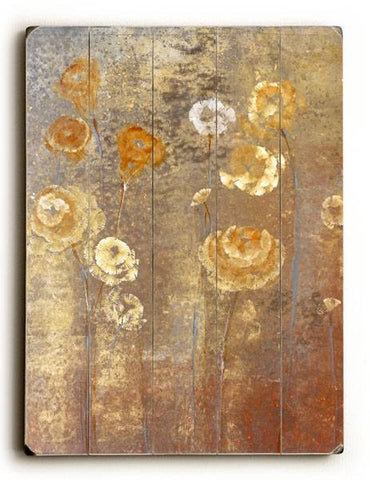 Bronze Flowers Wood Sign 18x24 (46cm x 61cm) Planked