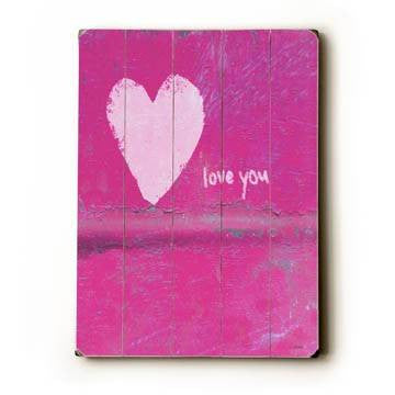heart love you Wood Sign 25x34 (64cm x 87cm) Planked
