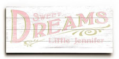 0003-1571-Sweet Dreams Girl Wood Sign 10x24 (26cm x61cm) Planked
